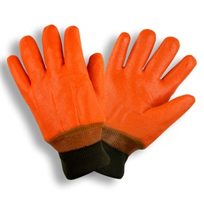 Orange Double Dipped PVC Foam Lined Knit Wrist Gloves