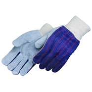 Leather Palm Knit Wrist Gloves