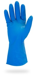 Blue Flock Lined Latex Gloves