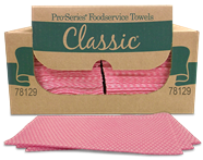Quarterfolded Pink Foodservice Wipes