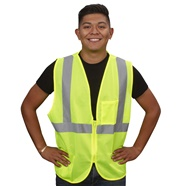 Class 2 Lime Mesh Safety Vest with Zipper Closure