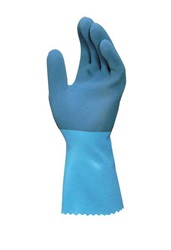 Blue Latex Gloves With Knit Liner