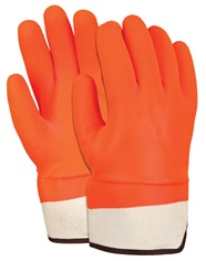Hi-Viz Double Dipped PVC Foam Lined Safety Cuff Gloves